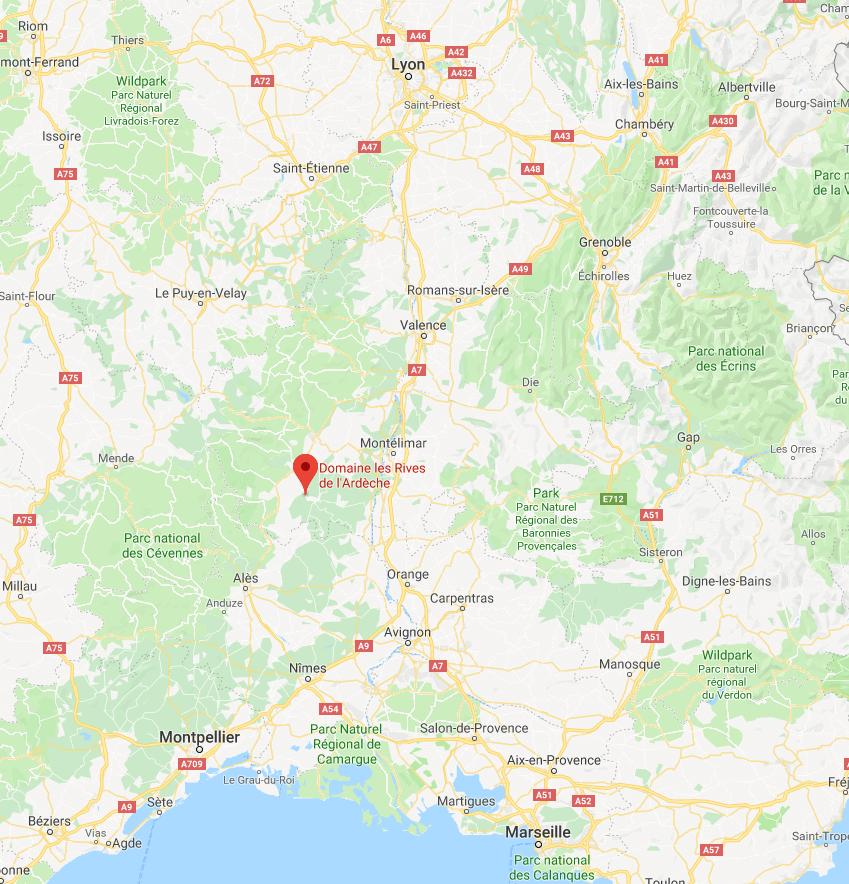 Map Domaine les Rives de l'Ardeche